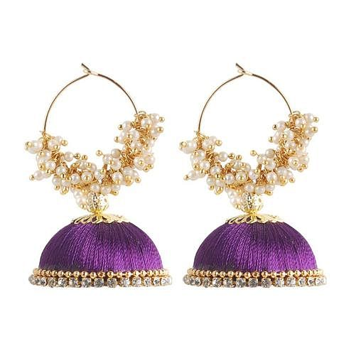 Pleasant Purple Colored Resham Thread Work Mix Metal Earring
