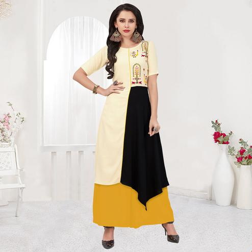Appealing Cream-Black Colored Partywear Embroidered Rayon Kurti
