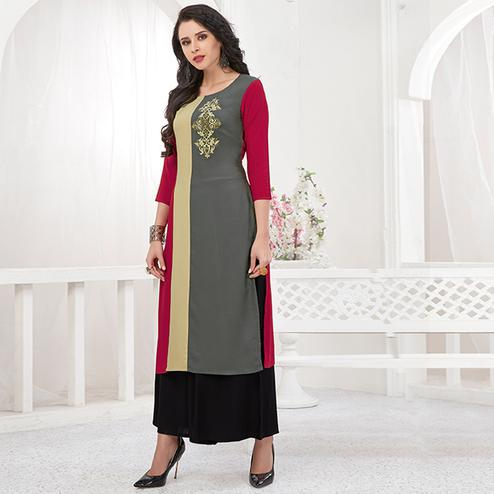 Groovy Gray-Maroon Colored Partywear Embroidered Rayon Kurti