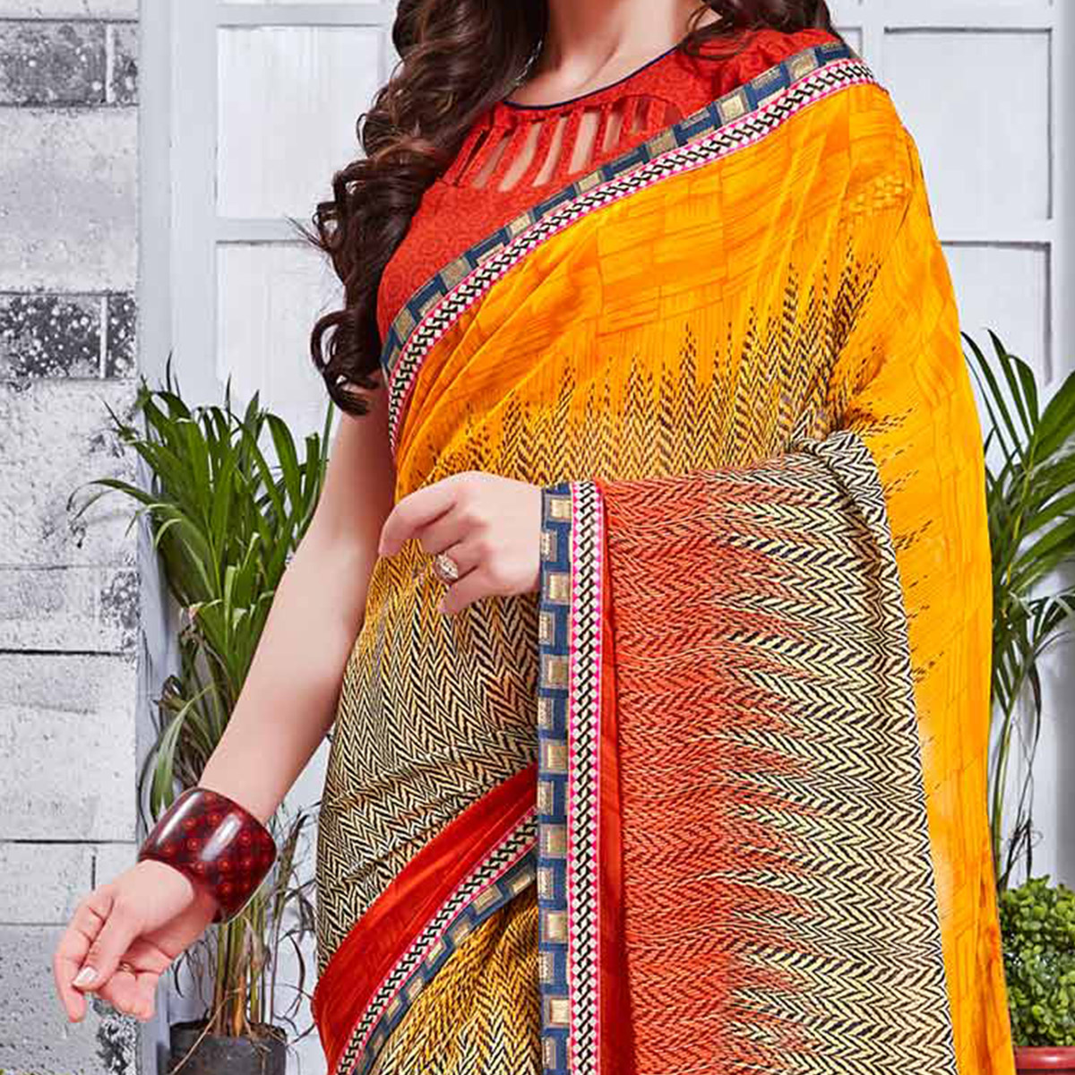 Adorable Multi Printed Georgette Saree