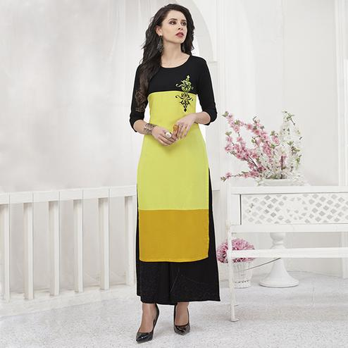 Adorning Yellow-Black Colored Partywear Embroidered Rayon Kurti