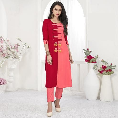 Captivating Pink-Red Colored Partywear Embroidered Rayon Kurti