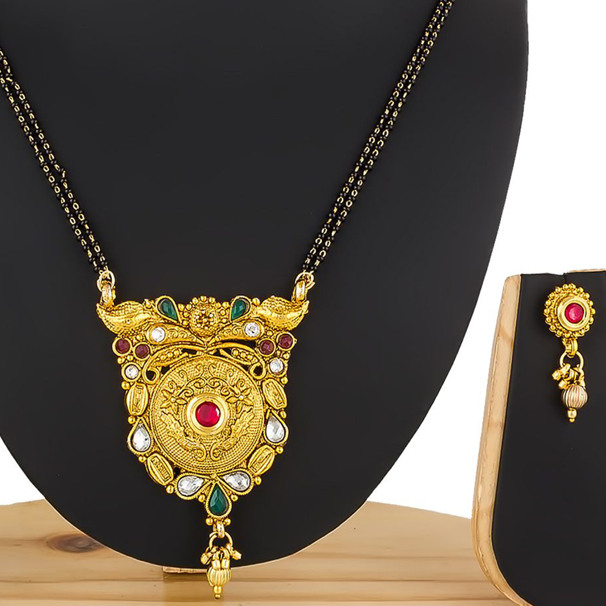 Desirable Golden Colored Stone Work Mix Metal Mangalsutra