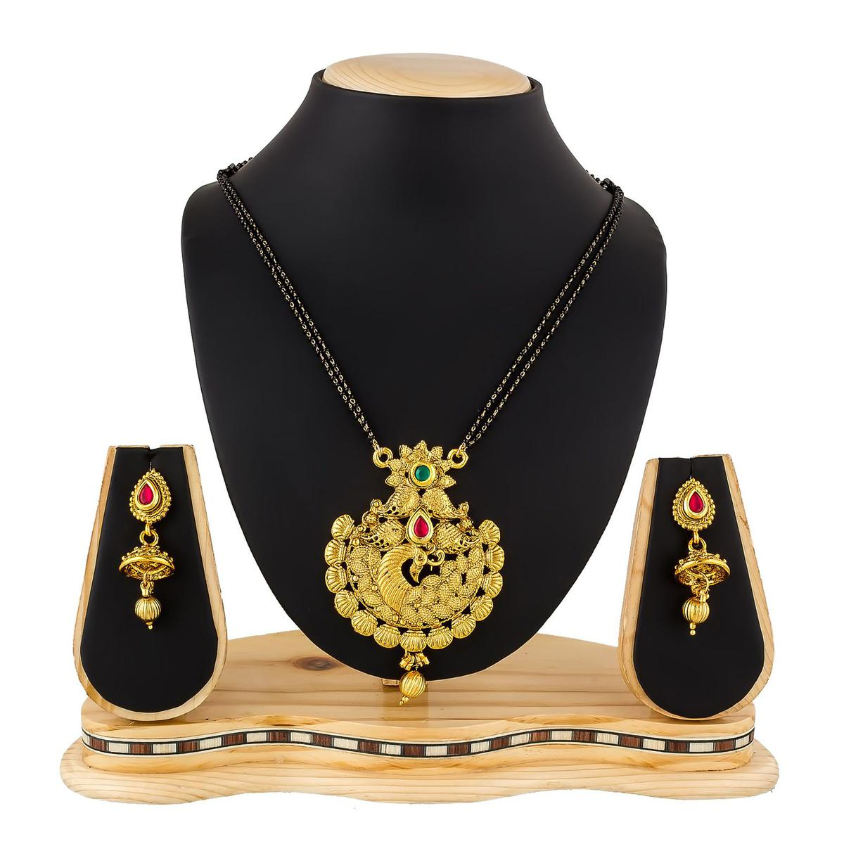 Pleasant Golden Colored Stone Work Mix Metal Mangalsutra