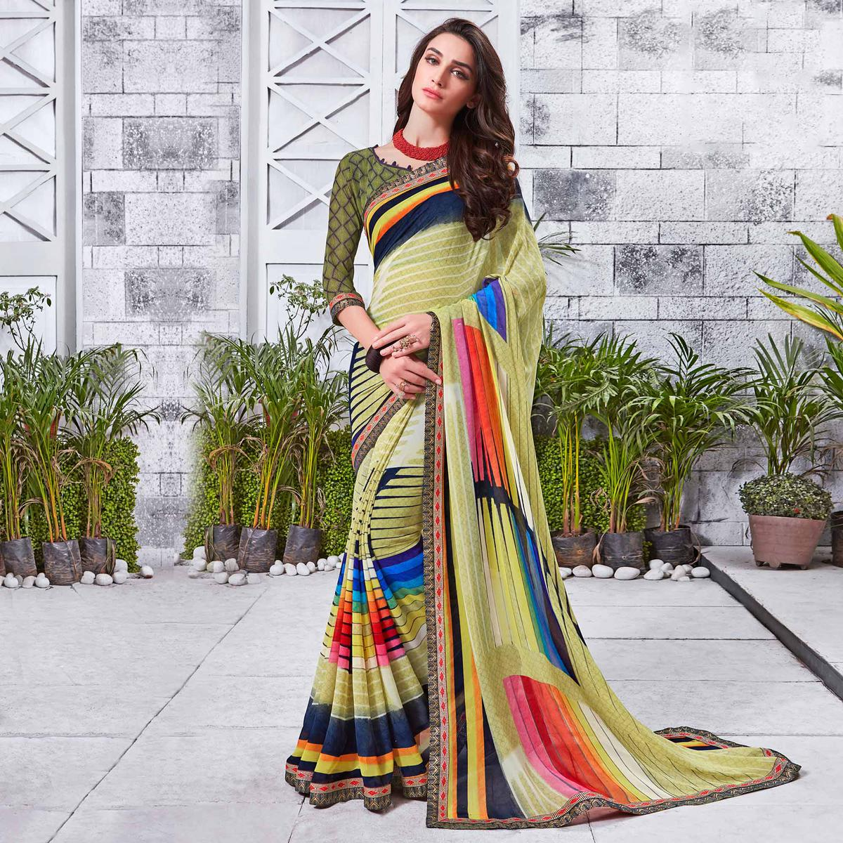 Charming Light Yellow Printed Georgette Saree