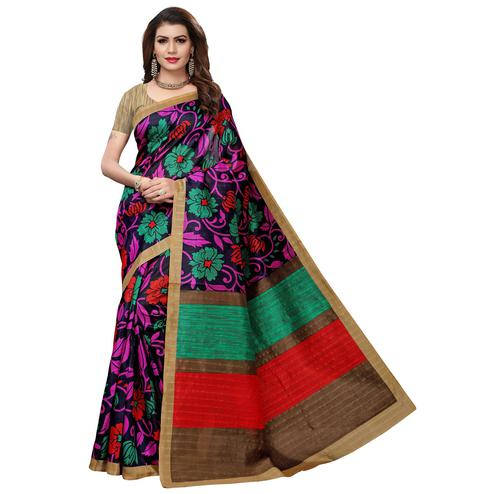 Ethnic Black Colored Casual Printed Bhagalpuri Silk Saree