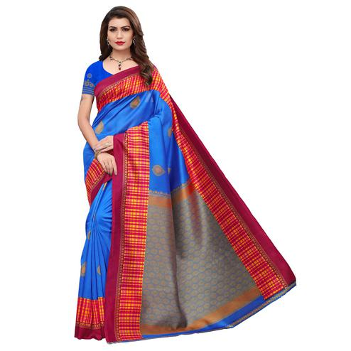 Flirty Blue Colored Festive Wear Printed Art Silk Saree