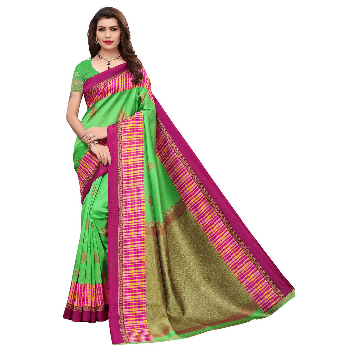 Trendy Green Colored Festive Wear Printed Art Silk Saree