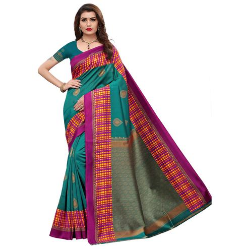 Magnetic Rama Green Colored Festive Wear Printed Art Silk Saree