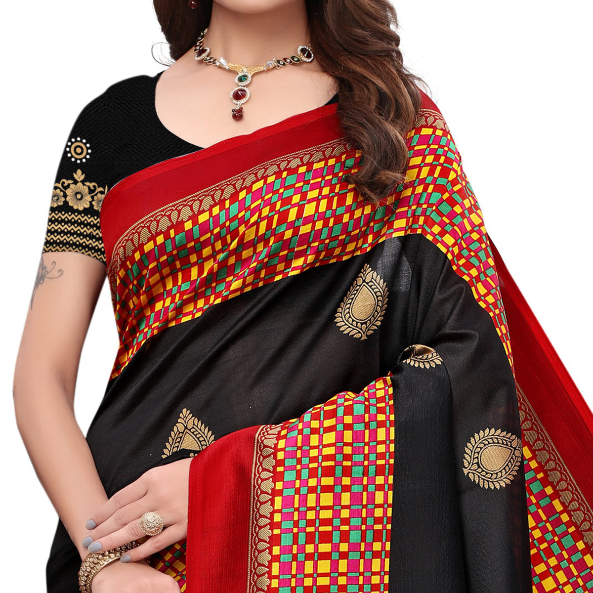 Energetic Black Colored Festive Wear Printed Art Silk Saree