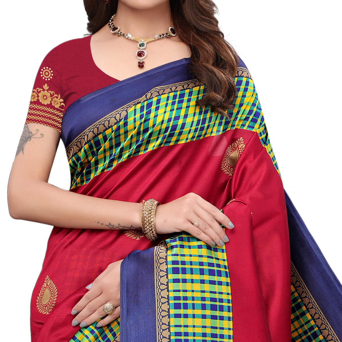 Mesmeric Red Colored Festive Wear Printed Art Silk Saree