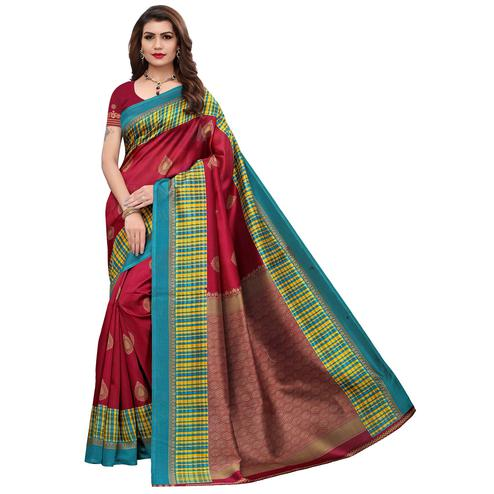 Flaunt Maroon Colored Festive Wear Printed Art Silk Saree