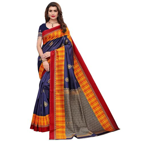 Flamboyant Navy Blue Colored Festive Wear Printed Art Silk Saree