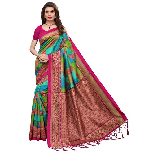 Ideal Multi-Pink Colored Festive Wear Printed Art Silk Saree