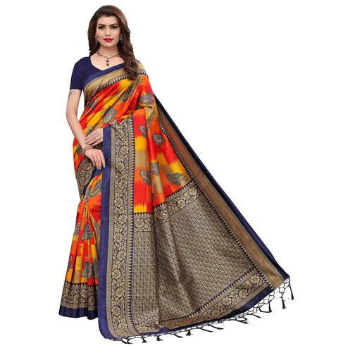 Engrossing Multi-Navy Blue Colored Festive Wear Printed Art Silk Saree