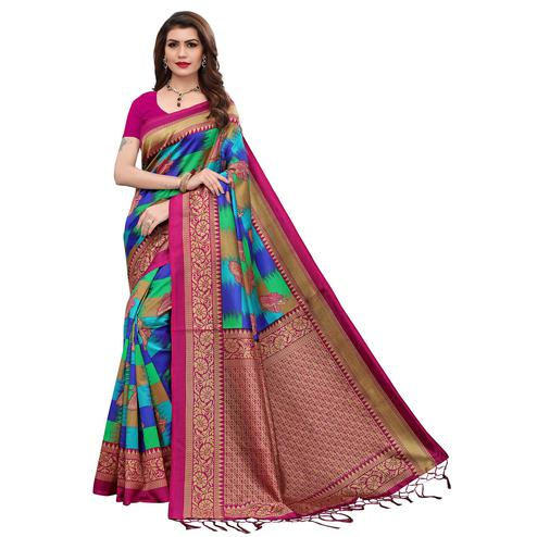 Fantastic Multi-Pink Colored Festive Wear Printed Art Silk Saree