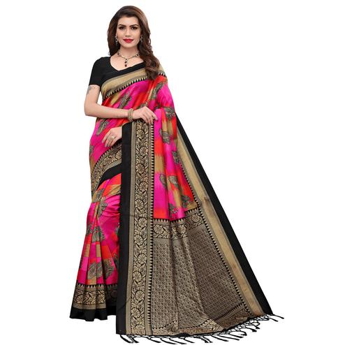 Staring Multi-Black Colored Festive Wear Printed Art Silk Saree
