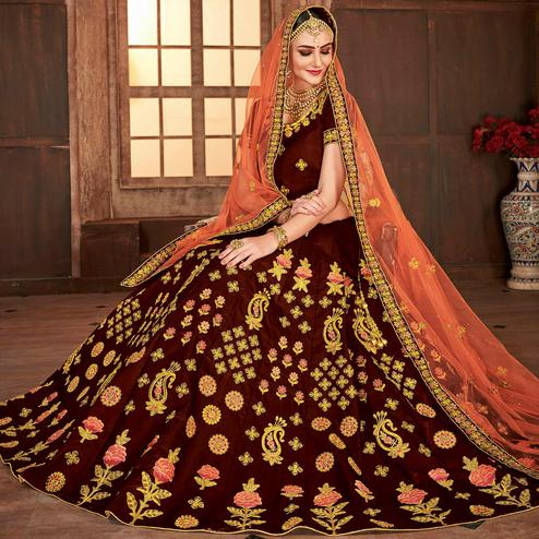 Intricate Maroon Colored Partywear Embroidered Satin Silk Lehenga Choli