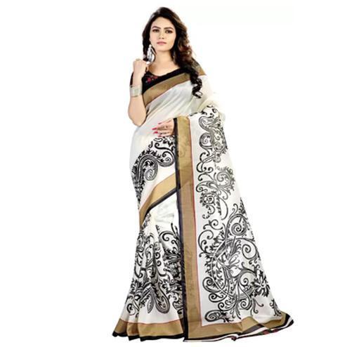 White Mysore Art Silk Saree