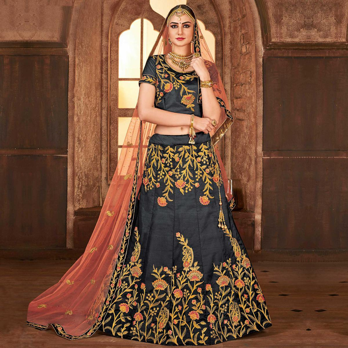 Desirable Dark Gray Colored Partywear Embroidered Satin Silk Lehenga Choli