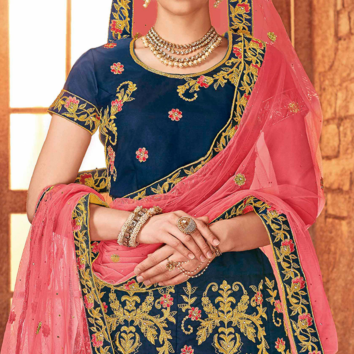 Sophisticated Blue Colored Partywear Embroidered Satin Silk Lehenga Choli