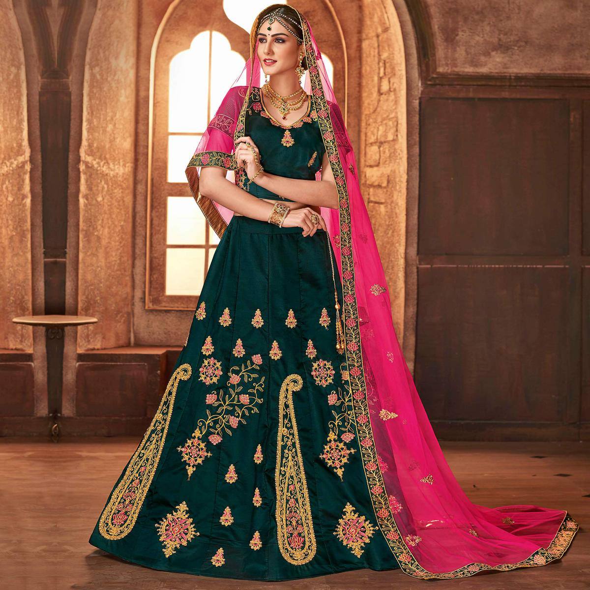 Opulent Pine Green Colored Partywear Embroidered Satin Silk Lehenga Choli