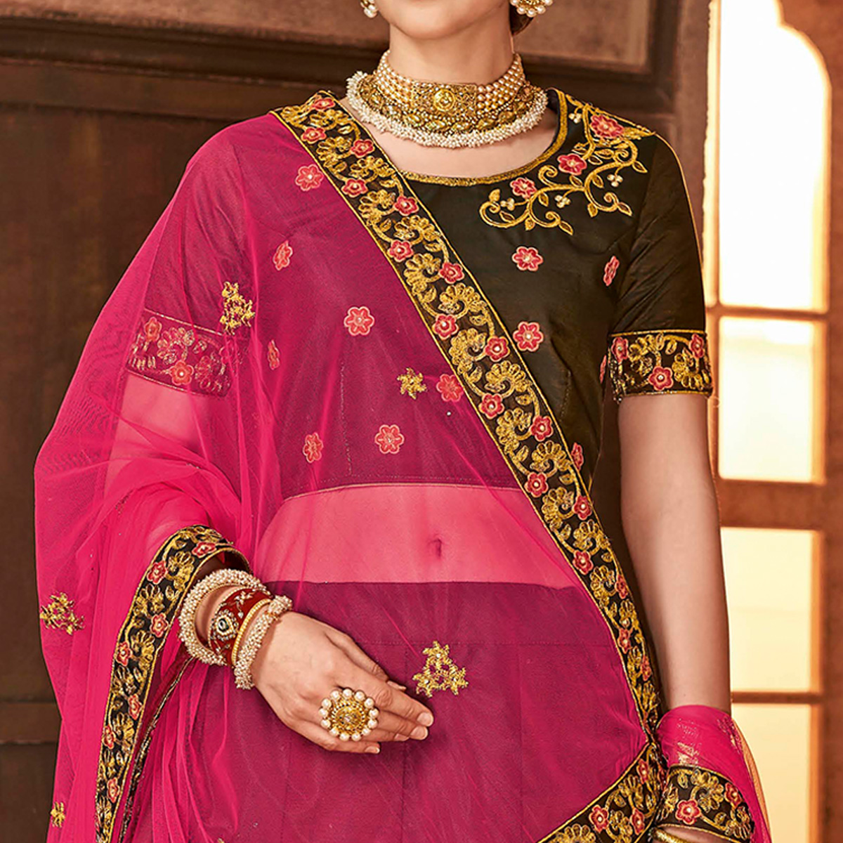 Dazzling Brown Colored Partywear Embroidered Satin Silk Lehenga Choli