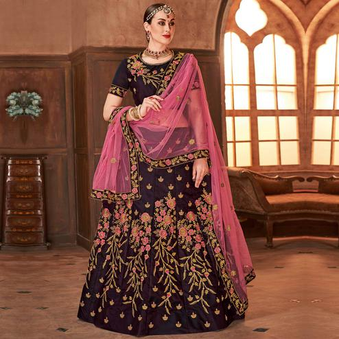 Breathtaking Wine Colored Partywear Embroidered Satin Silk Lehenga Choli