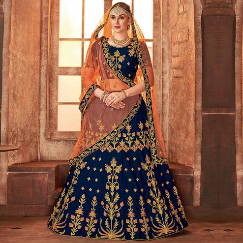 Impressive Blue Colored Partywear Embroidered Satin Silk Lehenga Choli