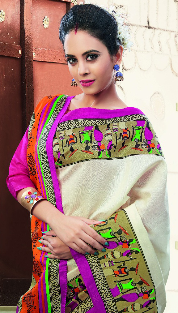 Cream - Pink Tribal Print Silk Saree
