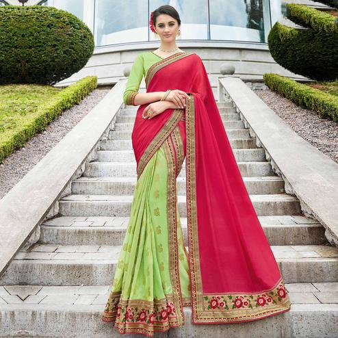Lovely Dark Pink-Light Green Colored Partywear Embroidered Chiffon Silk-Art Silk Half-Half Saree