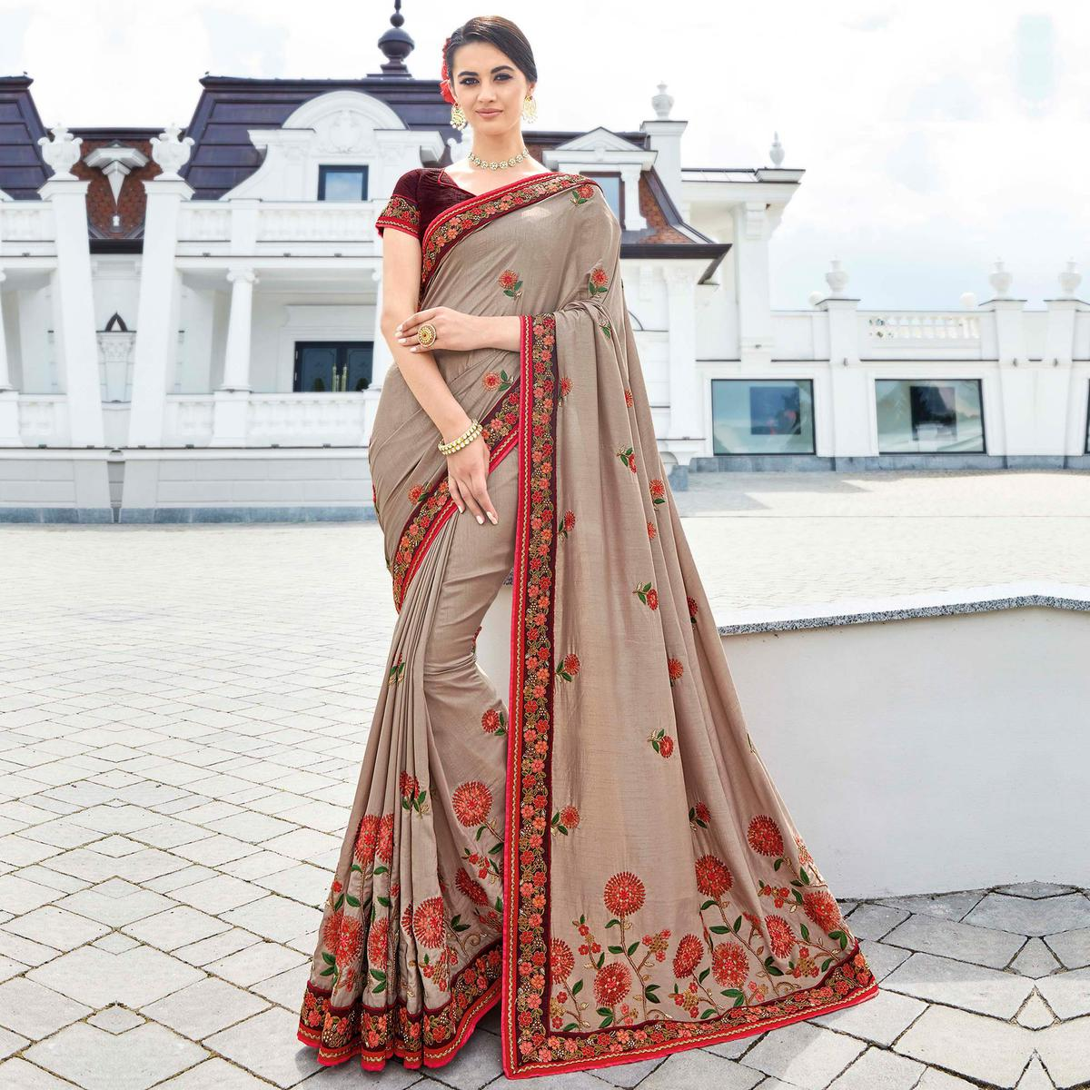 Charming Gray Colored Partywear Embroidered Silk Saree
