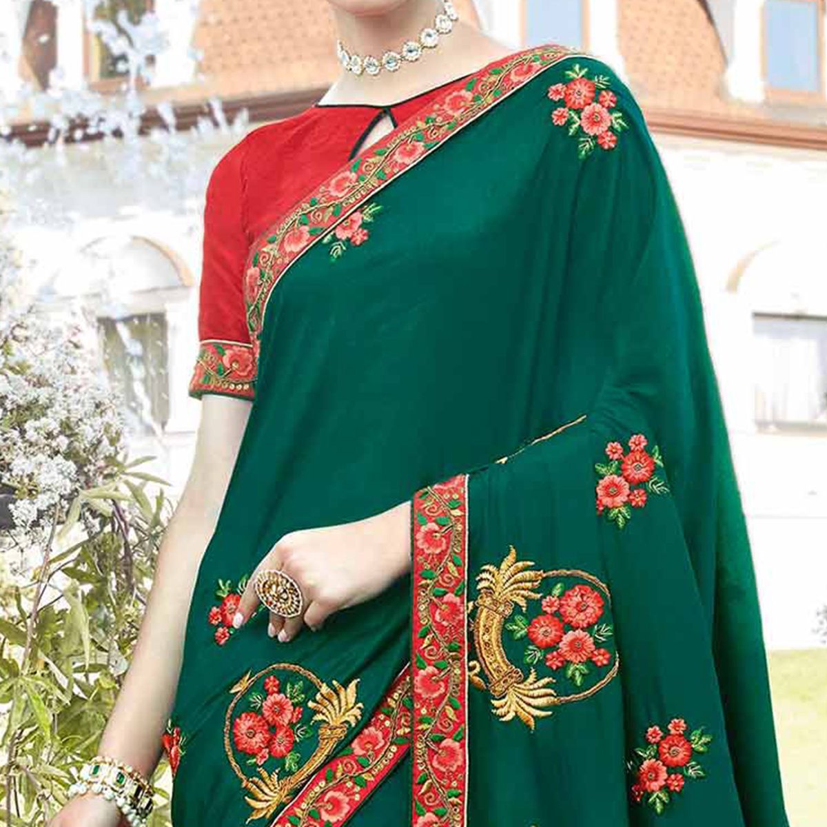Ravishing Teal Green Colored Partywear Embroidered Silk Saree