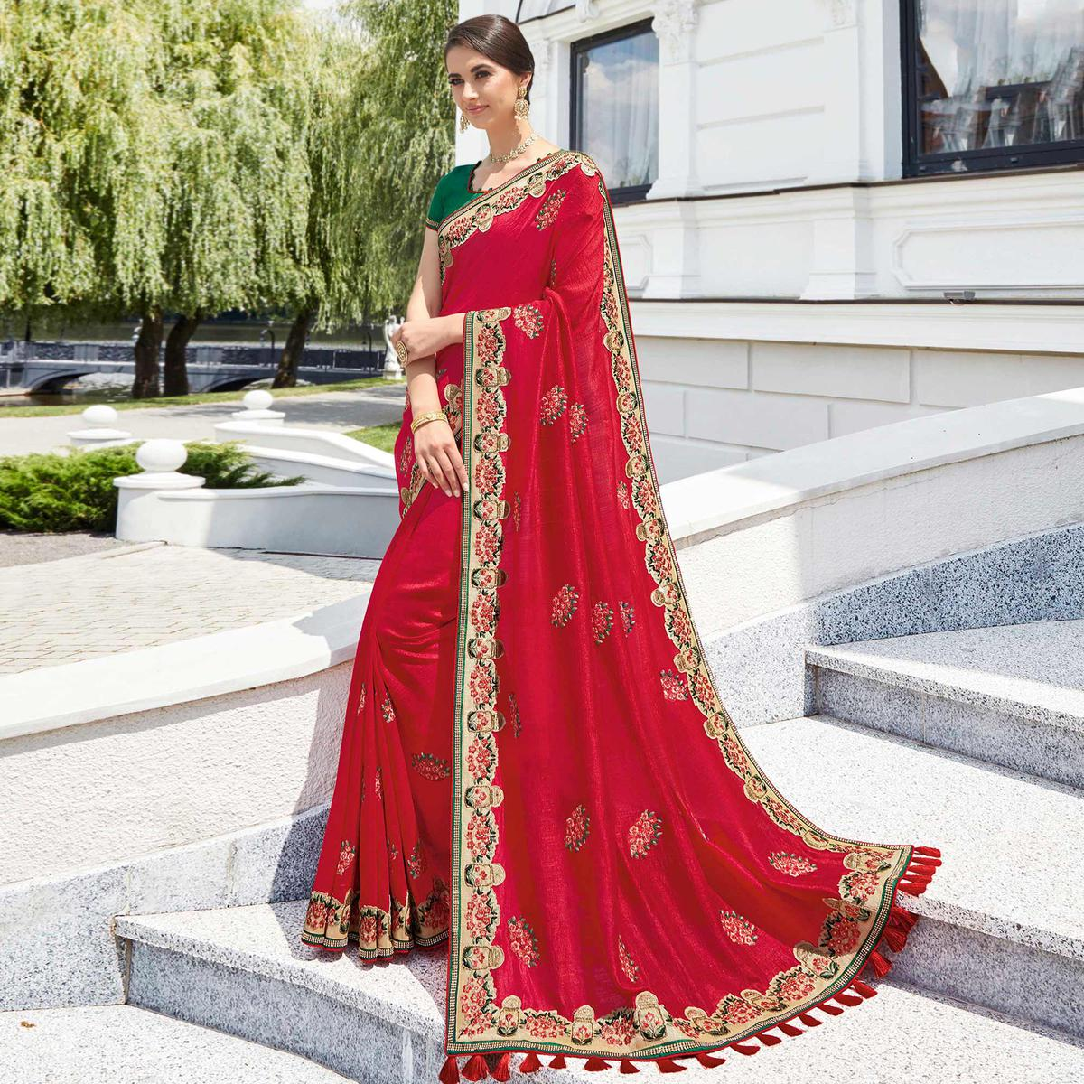 Delightful Red Colored Partywear Embroidered Silk Saree
