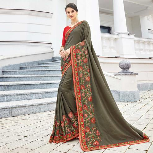 Stunning Gray Colored Partywear Embroidered Silk Saree