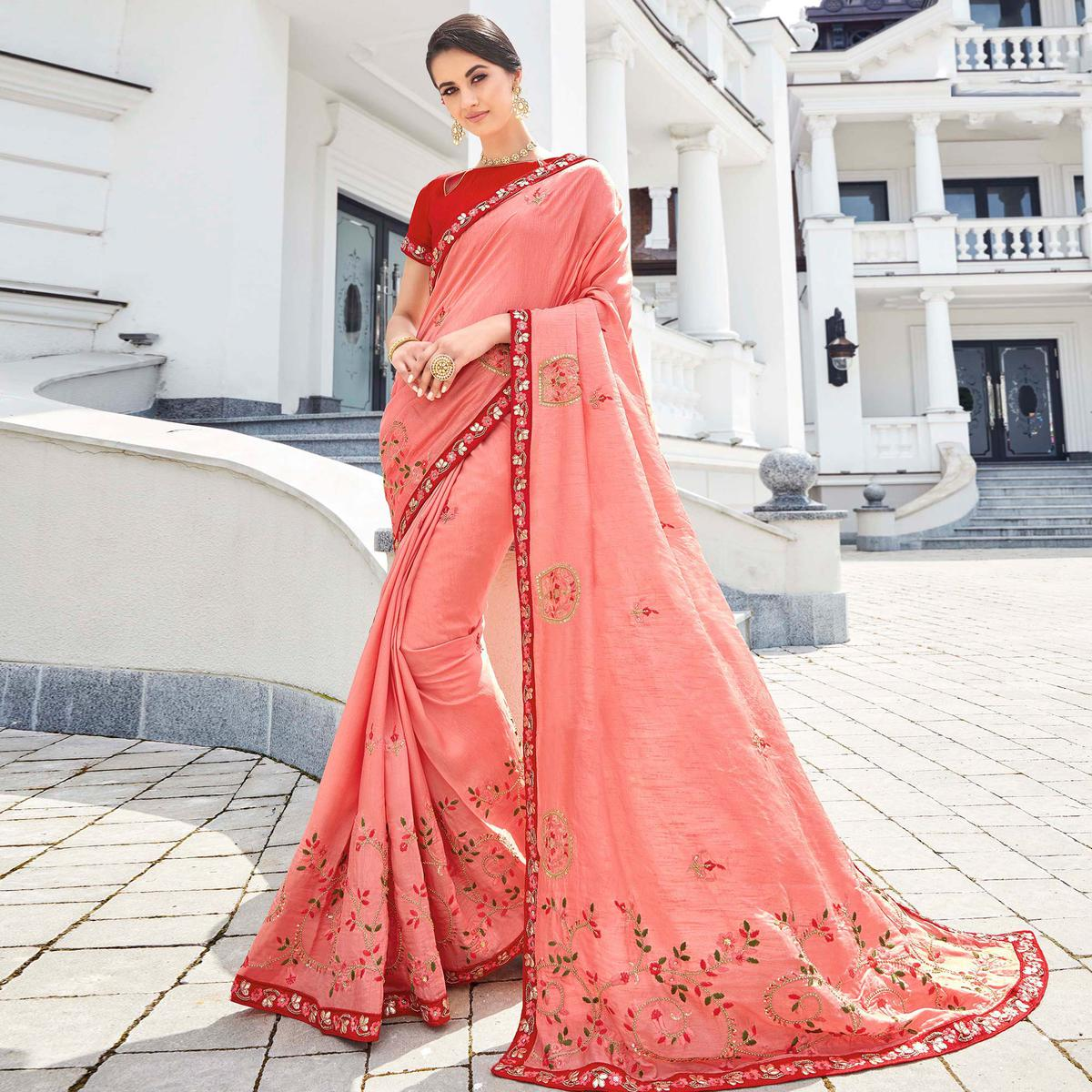 Marvellous Pink Colored Partywear Embroidered Silk Saree