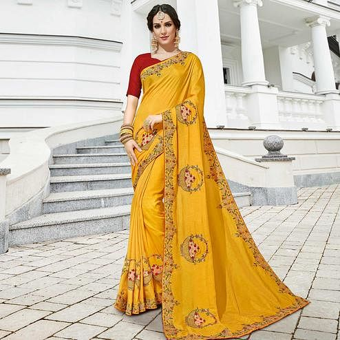 Ravishing Yellow Colored Partywear Embroidered Silk Saree