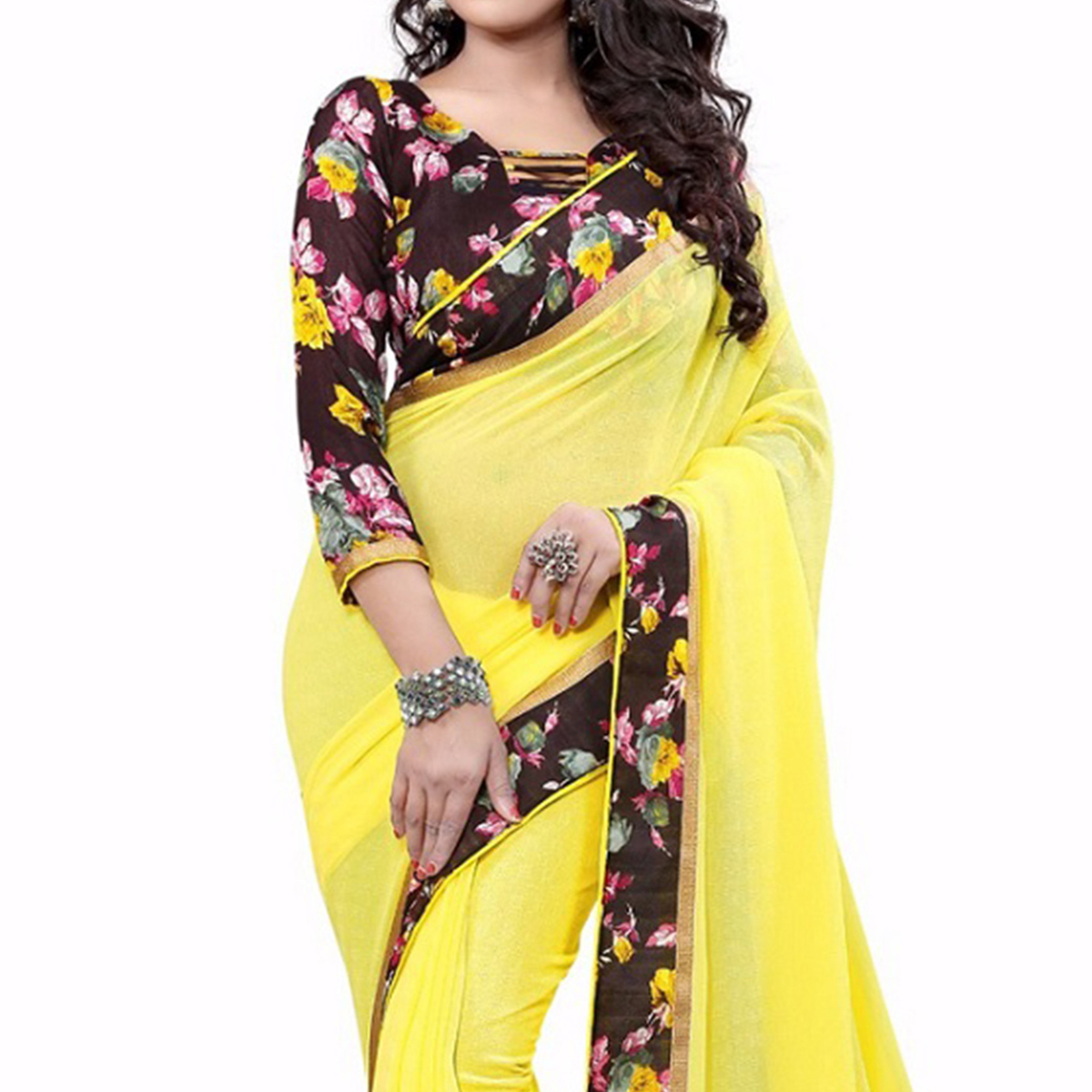 Yellow Printed Lace Work Georgette Saree
