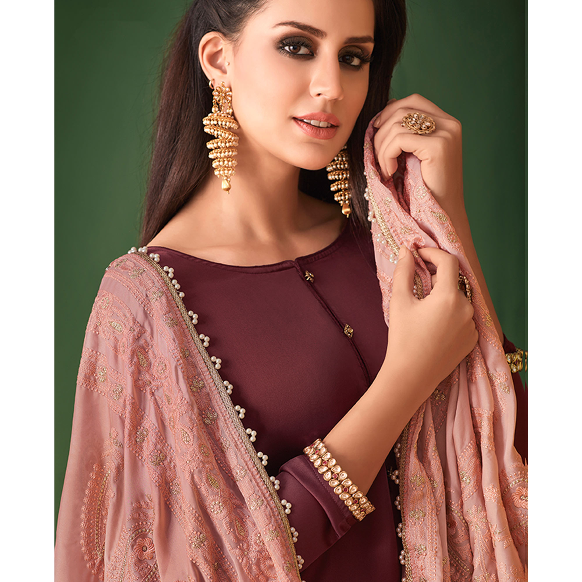 Eye-catching Wine Colored Partywear Embroidered Palazzo Suit