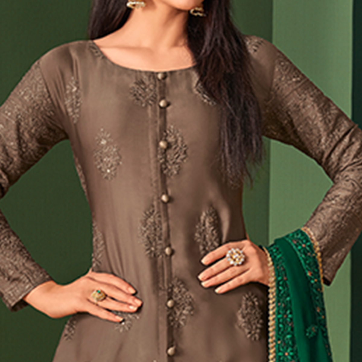 Amazing Brown Colored Partywear Embroidered Palazzo Suit