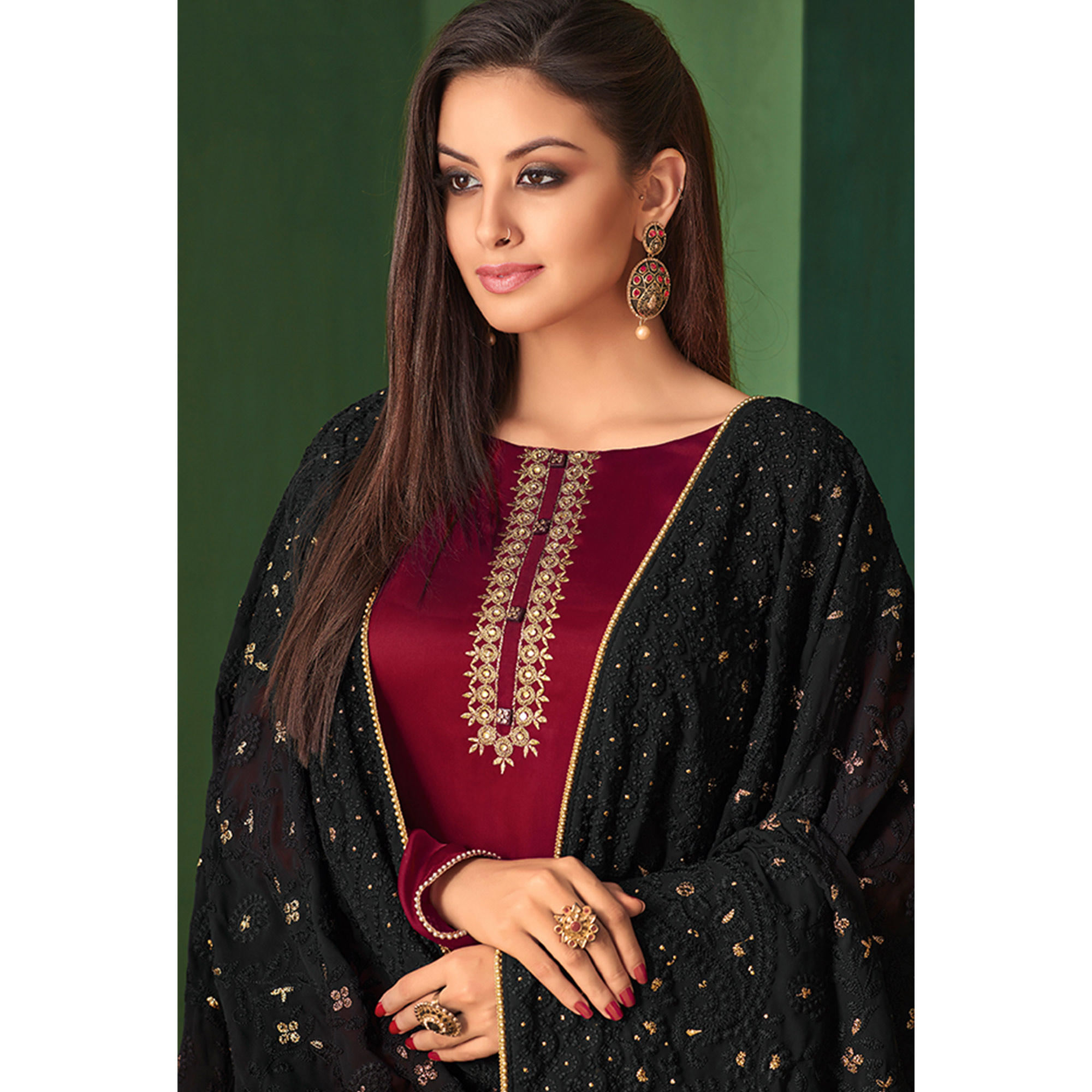 Majesty Maroon Colored Partywear Embroidered Palazzo Suit