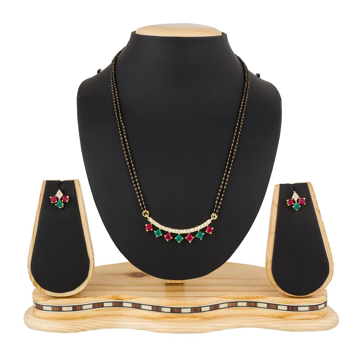 Gorgeous Golden Colored Stone Work Mix Metal Mangalsutra