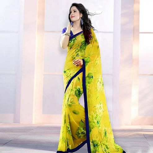 97cdb978f Yellow Casual Printed Georgette Saree