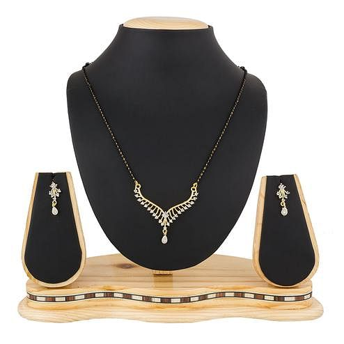 Graceful Golden Colored Stone Work Mix Metal Mangalsutra