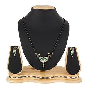 Marvellous Golden Colored Stone Work Mix Metal Mangalsutra
