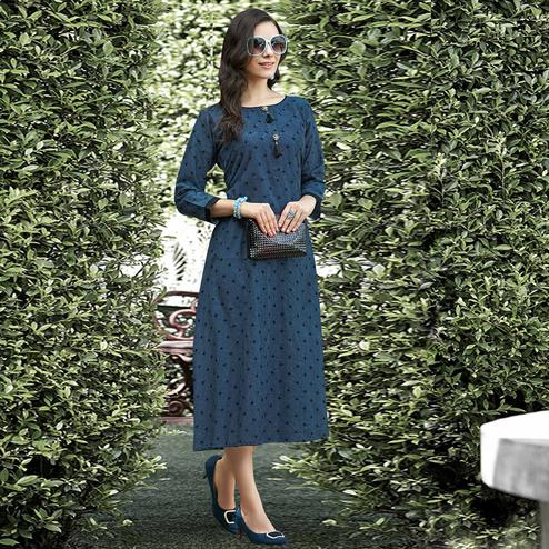 Blooming Blue Colored Casual Printed Rayon Kurti