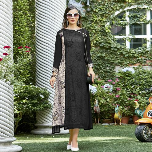 Mesmerising Black-Cream Colored Casual Printed Rayon Kurti