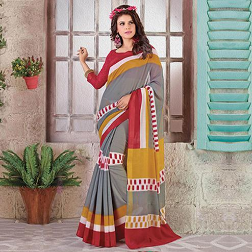 Red - Grey Cotton Silk Saree