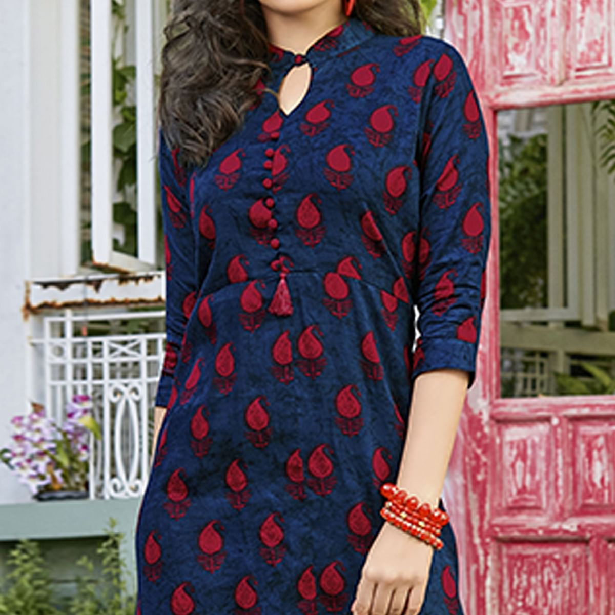 Amazing Navy Blue Colored Casual Printed Rayon Kurti
