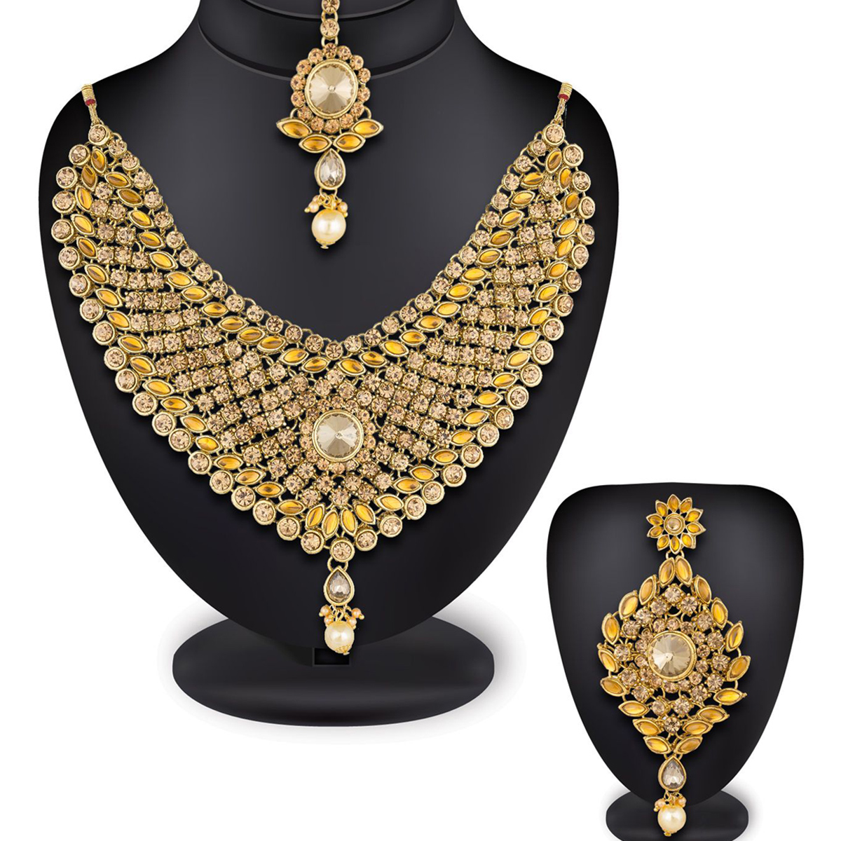 Jazzy Golden Colored Stone Work Mix Metal Necklace Set